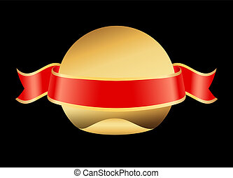 Ribbon Stripe Golden Circle Vector Illustration