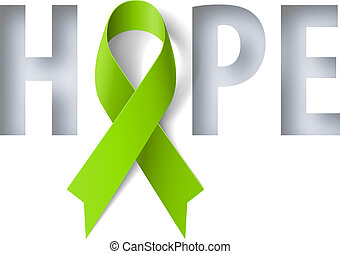 Banner with Hope Lettering and Symbol of Lymphoma Awareness Realistic Ribbon. Design Template for Info-graphics or Websites Magazines
