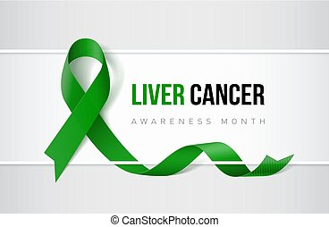 Banner with Liver Cancer Awareness Realistic Ribbon. Design Template for Websites Magazines