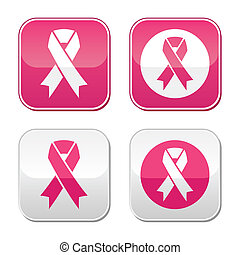 Health care campaign - breast cancer ribbons set on glossy modern pink and grey buttons