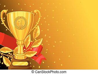 ribbon., taza, rama, oro, texto, premio, deportes, ...