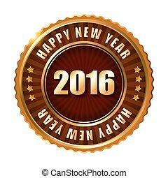 ribbon., timbre, étiquette, heureux, nouveau, doré, 2016, année