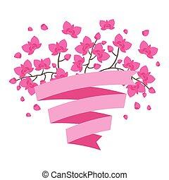ribbon., tropicale, stilizzato, fondo, fiori, orchidea