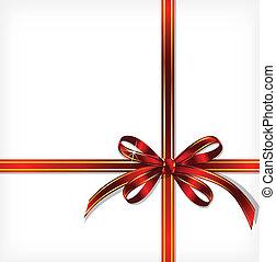 ribbon., vecteur, cadeau, fond, rouges