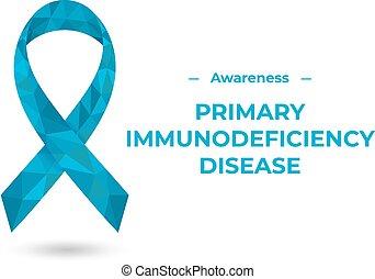 ribbon., vecteur, conscience, white., isolé, impression, illustration, bleu, primaire, polygonal, immunodeficiency, toile