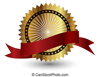 ribbon., vecteur, rouges, étiquette