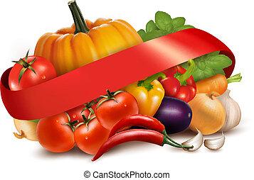 ribbon., vector., légumes, fond, frais, rouges