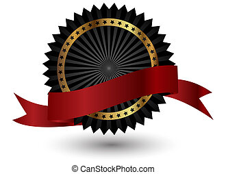 ribbon., vector, zwart rood, etiket