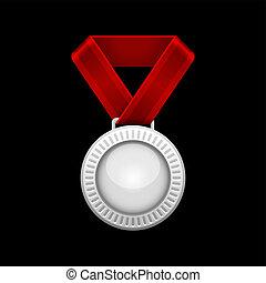 ribbon., vetorial, medalha, prata, vermelho
