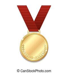 ribbon., vetorial, medalha, vermelho, ouro