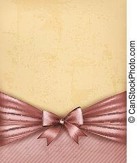 ribbon., vieux, cadeau, vendange, arc, papier, vecteur, fond
