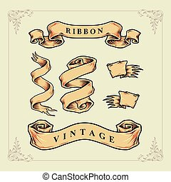 Ribbon Vintage Vector Banner with Label