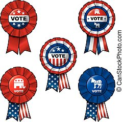 Ribbon Vote - Set of 5 interchangeable Ribbons and Buttons...