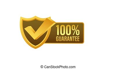 Ribbon with gold 100 guarantee. Banner sale. Business circle. Approval icon. Motion graphics.
