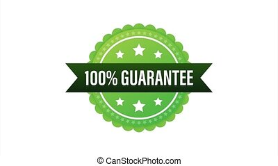 Ribbon with gold 100 guarantee. Banner sale. Business circle. Approval icon. stock illustration.