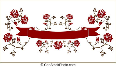 ribbon with roses