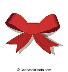 Ribbon XMas icon. Cartoon style. Vector Illustration for Christmas day