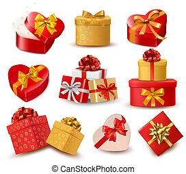 ribbons., achtergrond, valentijn, cadeau, hartjes, twee, ...