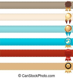 Ribbons And Awards - Gold Label With Ribbons, Isolated On...