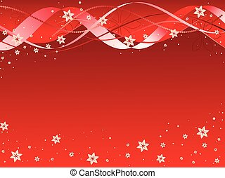 ribbons and flowers on red