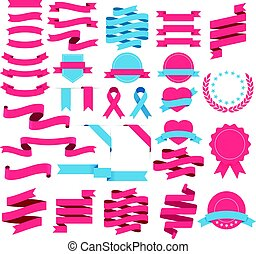 Ribbons and labels set. Vector illustration.