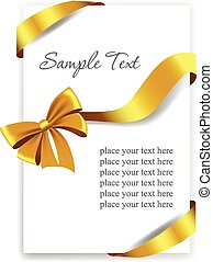 ribbons., arco, ouro, presente