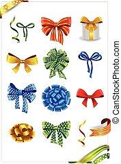 ribbons., arcos, presente, jogo