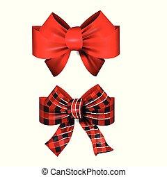 ribbons., arcos, presente, vermelho, jogo, vetorial, grande