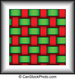 Seamless pattern in the form of interwoven red and green ribbons.