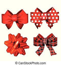 ribbons., jogo, presente, arcos, vermelho, vetorial, grande