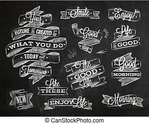 Ribbons lettering chalk - Set ribbons in vintage style with...