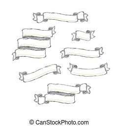 Ribbons pack. Vintage hand-drawn outline banners. Vector template