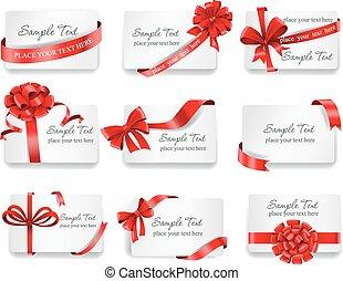 ribbons., presente, festivo, cartões, vermelho