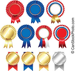 Ribbons Rosette Badge, Vector Illustration