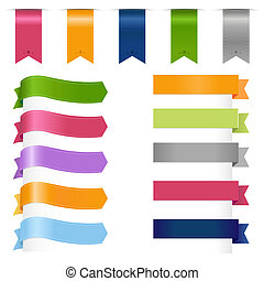Ribbons Set, Isolated On White Background, Vector Illustration