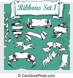 Ribbons Set - Vector illustration.