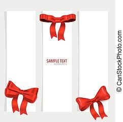 ribbons., vermelho, cartões