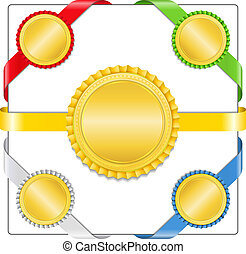Ribbons with golden medals