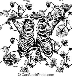 ribcage, fleurs blanches, noir
