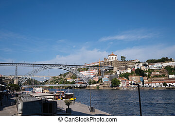 Ribeira and a view of the Dom Luis I Bridge in Porto, ...