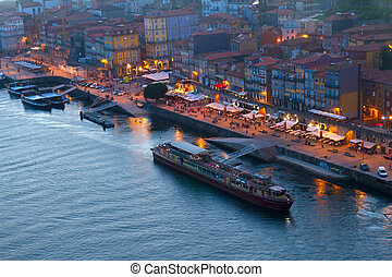 embankment in  old town of Porto, Portugal