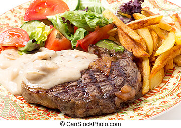 ribeye, biefstuk, closeup, maaltijd
