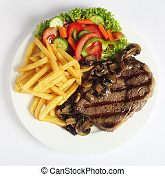 ribeye, biefstuk, diner, van boven