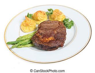 ribeye, bistecca, asparago, e, patate