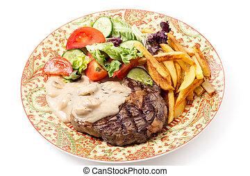 ribeye, bistecca, piatto piano