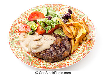 ribeye, piastra, cena, bistecca