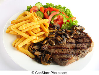 A grilled ribeye steak served with mushrooms, chips (french fries) and a garden salad of lettuce, cucumber, baby carrot and capsicum