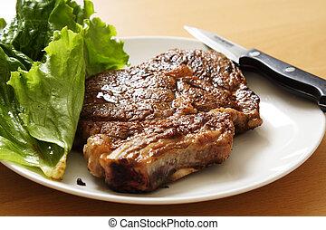Ribeye steak on a plate