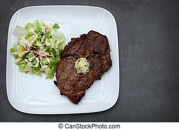 Ribeye Steak with Cilantro Butter and a side salad keto meal...