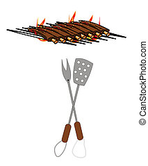 rack of beef ribs on BBQ grill with utensils over white